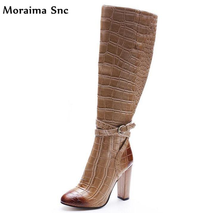 все цены на Moraima Snc Popular fashion women Boots crocodile line print Round toe Ankle strap buckle Embellishment Knee-high boot