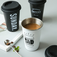 Coffee Mugs Thickened Stainless Steel Coffee Mugs Tea Cups Big Travel Mug Camping Mug Coffee Cup With Cup Sleeve Lid Straw 450ml