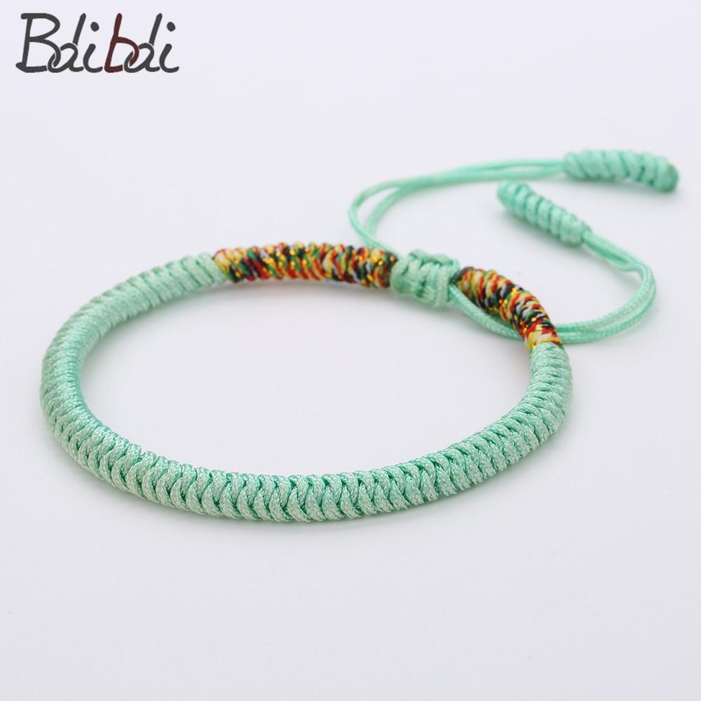 Balibali Handmade Tibetan Buddhist Bracelet Light Color Knots Rope Mix Weaving Adjustable Ethnic Rope Chain Bracelet