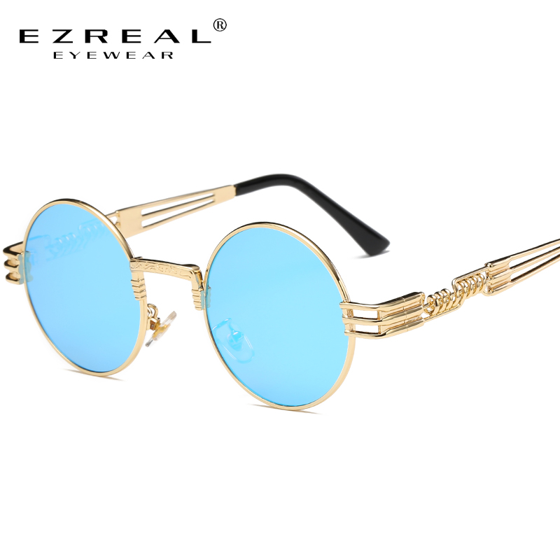 EZREAL Vintage Femmes Steampunk Lunettes De Soleil Brand Design lunettes de Soleil Rondes Oculos de sol UV400 2680