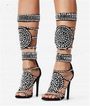 Hasta la rodilla, botas de gladiador a media pantorrilla con diamantes de imitación a la moda para mujer, de cristal, negro, blanco, botas Zapatos de vestir de tacón alto