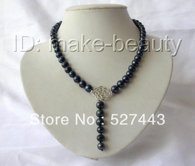 Gros livraison gratuite     superbe 9 mm ronde eau douce perle de culture  noire collier 18 2fac99b78c4