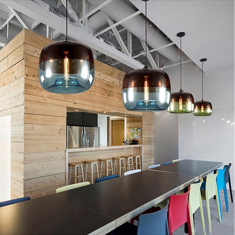 Image 5 - Modern Nordic Art Deco Colorful Hanging Glass Pendant Lamp Lights Fixtures E27 LED For Kitchen Restaurant Living Room Bedroom-in Pendant Lights from Lights & Lighting