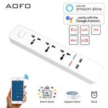 Multiprise intelligente Wifi avec prise universelle 3 prises 2 Station de recharge USB fonctionne avec Alexa Google Home Assistant prises royaume uni/AU/ue/inde