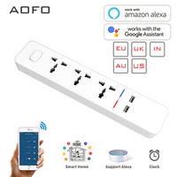 Wifi smart Power Strip with Universal 3 Socket 2 USB Charging Station Work with Alexa Google Home Assistant UK\/AU\/EU\/India Plugs