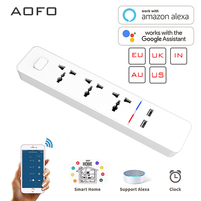 Wifi smart Power Strip with Universal 3 Socket 2 USB Charging Station Work with Alexa Google Home Assistant UK/AU/EU/India Plugs