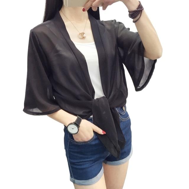Solid Cardigan Loose Chiffon Blouse Women Blouses Kimono Cardigan Plus Size V neck Flare Sleeve Lace Up Women Tops