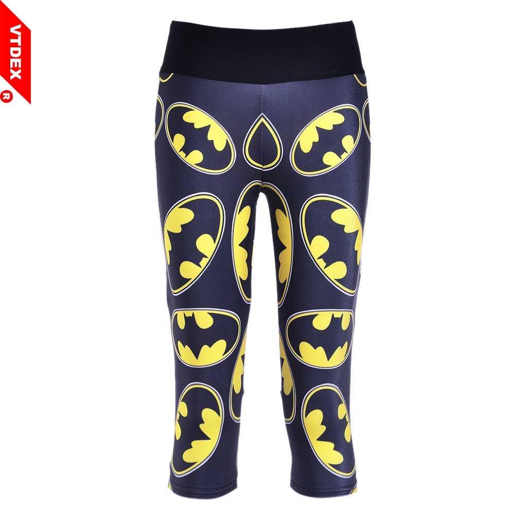 fb1ef63b58ab VTDEX 2018 Batman Pattern Capri Sports Pants Women Running Yoga Fitness  Tights Digital Print Quick Dry