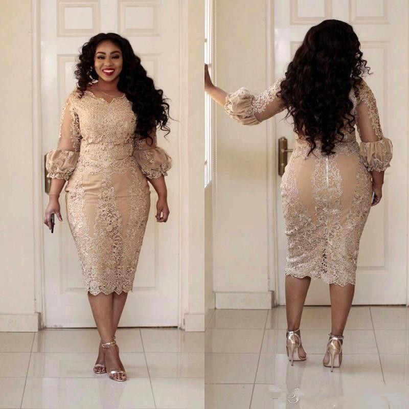 African Champagne Mother Of The Dresses Jewel Neck Applique Illusion 3/4 Sleeve Long Sleeve Evening Gowns Plus Size Mermaid Pro