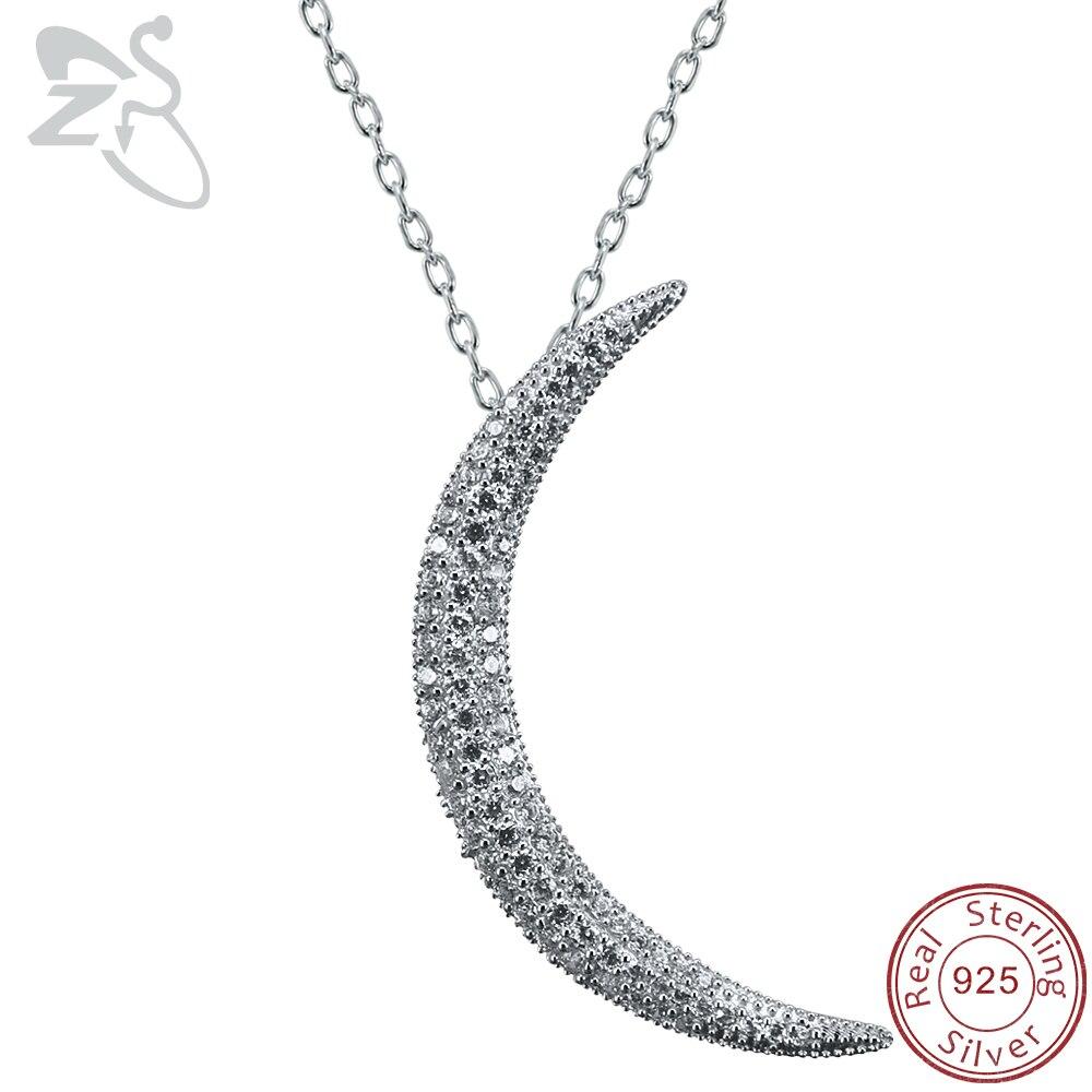 ZS Crescent Mond Anhänger Halskette für Frauen Gepflasterte CZ Kristall Mond Anhänger 925 Sterling Silber Halskette Islam Schmuck Israelische