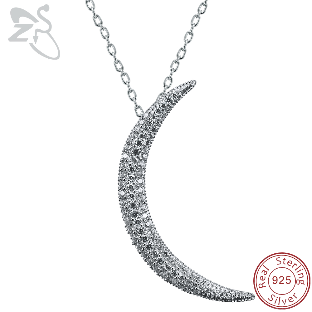 цена на ZS Crescent Moon Pendant Necklace for Women Paved CZ Crystal Moon Pendant 925 Sterling Silver Necklace Islam Jewelry Israeli