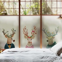 Colored deer glass film window stickers Custom size Stained Static Cling bedroom privacy non-Adhesive door Decorative PVC