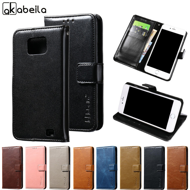 AKABEILA Phone Cover Case For Samsung I9100 Galaxy S II I9100G SII S2 GT-I9100 4.3 inch Luxury Wallet PU Leather Cases Card Hold