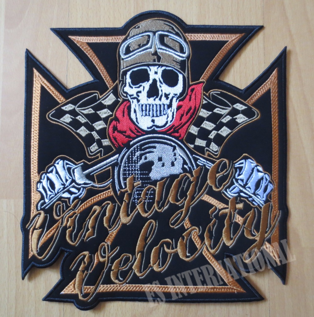 11 inches large Embroidery Patches for Jacket Back Vest Motorcycle Biker Sew on Skull rider
