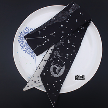 12 Constellations Tarot Series New Design Print Women Silk Scarf 2019 Fashion Head Luxury Brand Small Tie Bind Wrap Bag Ribbons