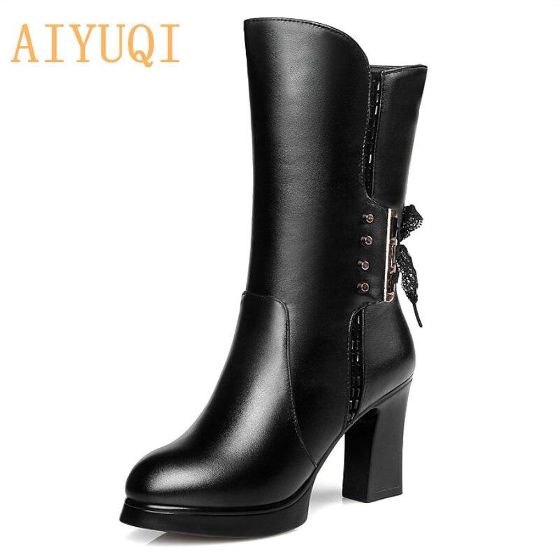 AIYUQI 2019 جديد جلد طبيعي المرأة الأحذية حجم 9 الصوف النساء حقيقية الشتاء الأحذية عالية الكعب الأحذية دراجة نارية النساء-في أحذية منتصف ربلة الساق من أحذية على  مجموعة 1
