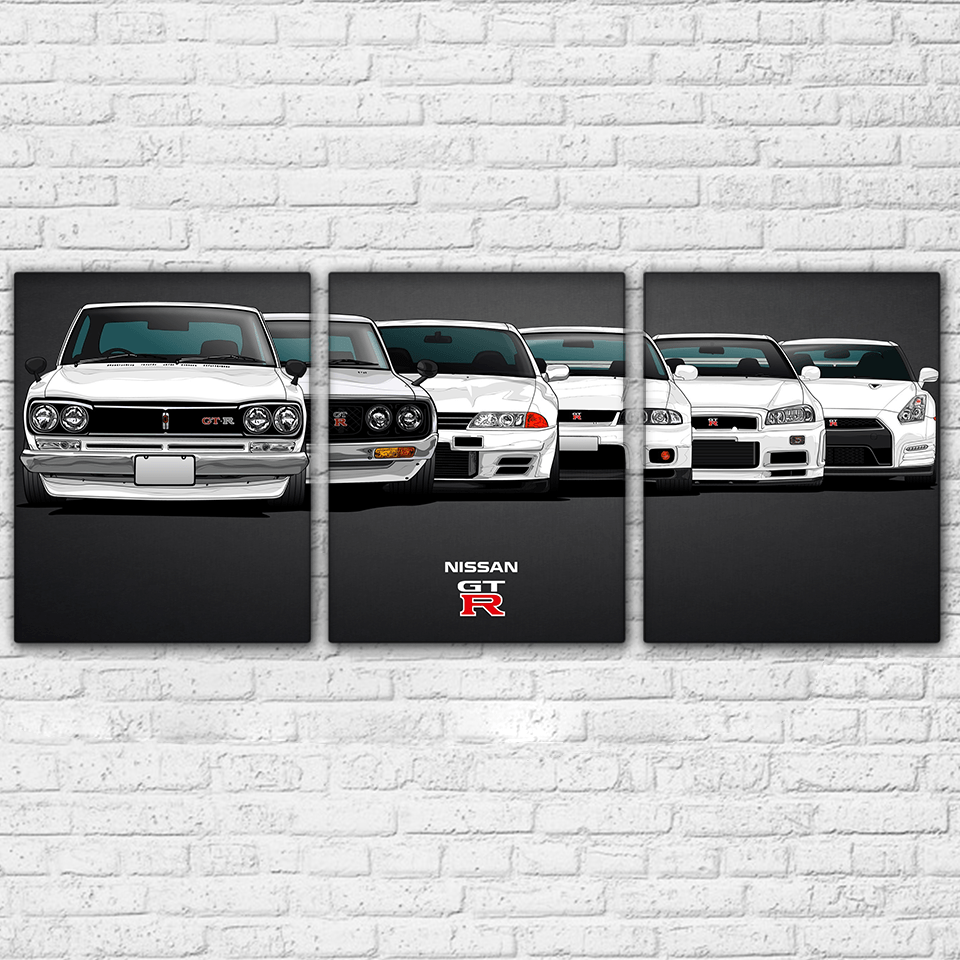 Canvas Pictures Home Decorative For Living Room Wall Art HD Prints 3 Pieces White Sports Cars Paintings Vehicle Poster Framework