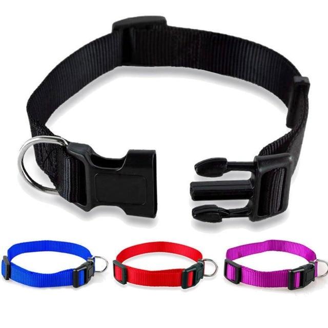 Null 1Pcs Durable Nylon Solid Color Cat Dog Pet Collar 4 Color Adjustable Collar S M X XL 281494