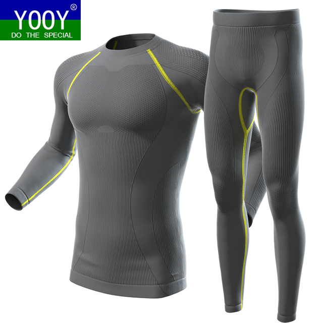 YOOY Men's Winter Gear Ski Thermal Underwear Sets Long Sleeve Top Exercise Clothes Sports Hosen Snowboarding Shirts And Pants