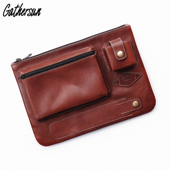 """Gathersun Tablet Case with Pen Holder Men Leather Clutch Bags Zipper Tablet Cover 10.5"""" Genuine Leather Tablet Sleeve 9.7"""""""