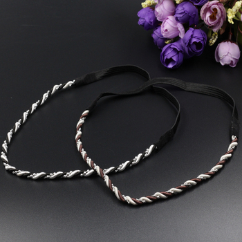 women silver color beads Headband fashion elastic Headbands Hairbands Headwear Head Band Chain