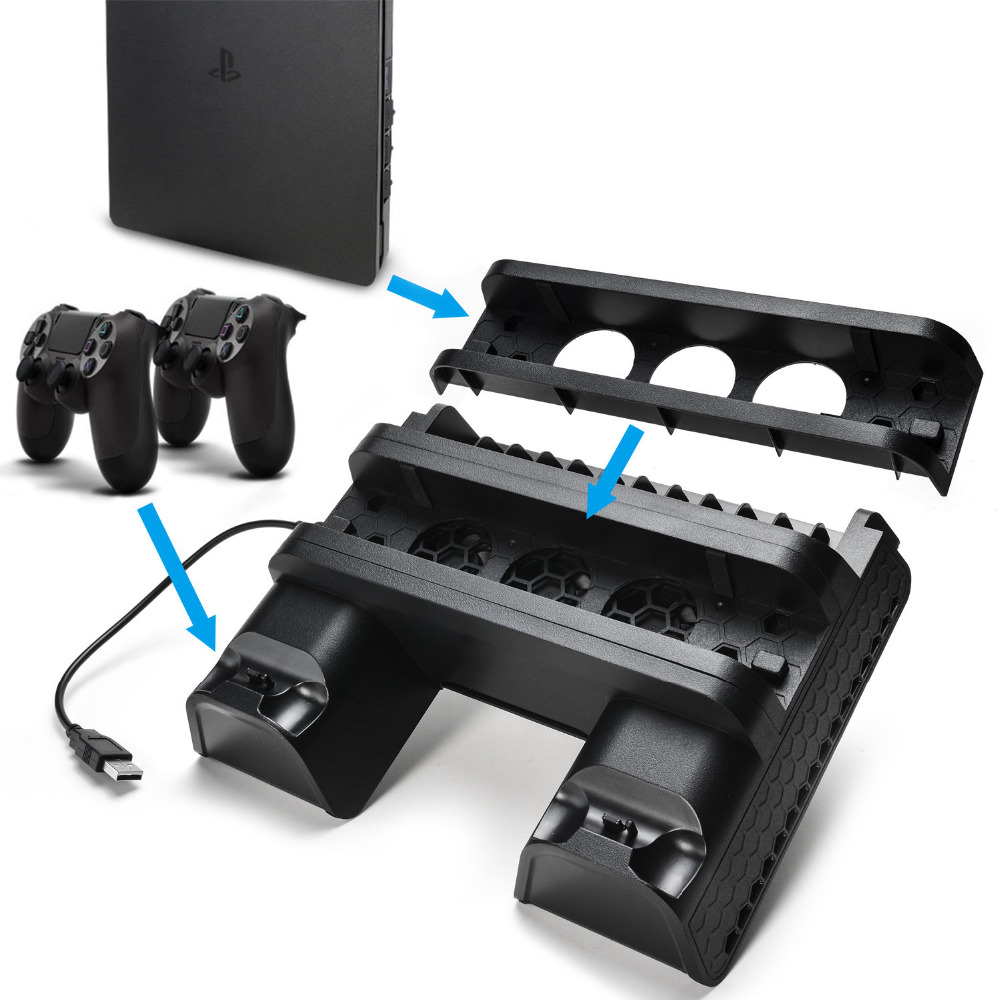 PS4 Accessories PS4/PS4 Slim/PS4 Pro Vertical Console Cooling Fan PS4 Controller Charger Game Disk Storage Stand Tower