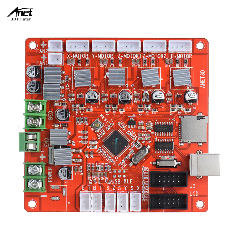 Anet A1284-Base Control Board Mother Board Mainboard for Anet A8 DIY Self Assembly 3D Desktop Printer 2pcs anet v1 5 motherboard control board 3d printer parts for anet a8
