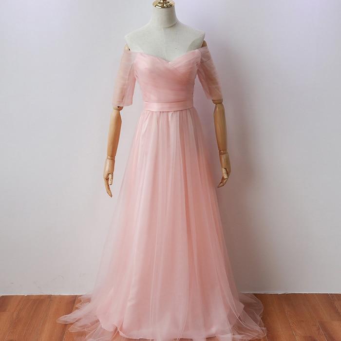 Pink Long Party Dress  Elegant Women for Wedding Bridesmaid Floor-Length