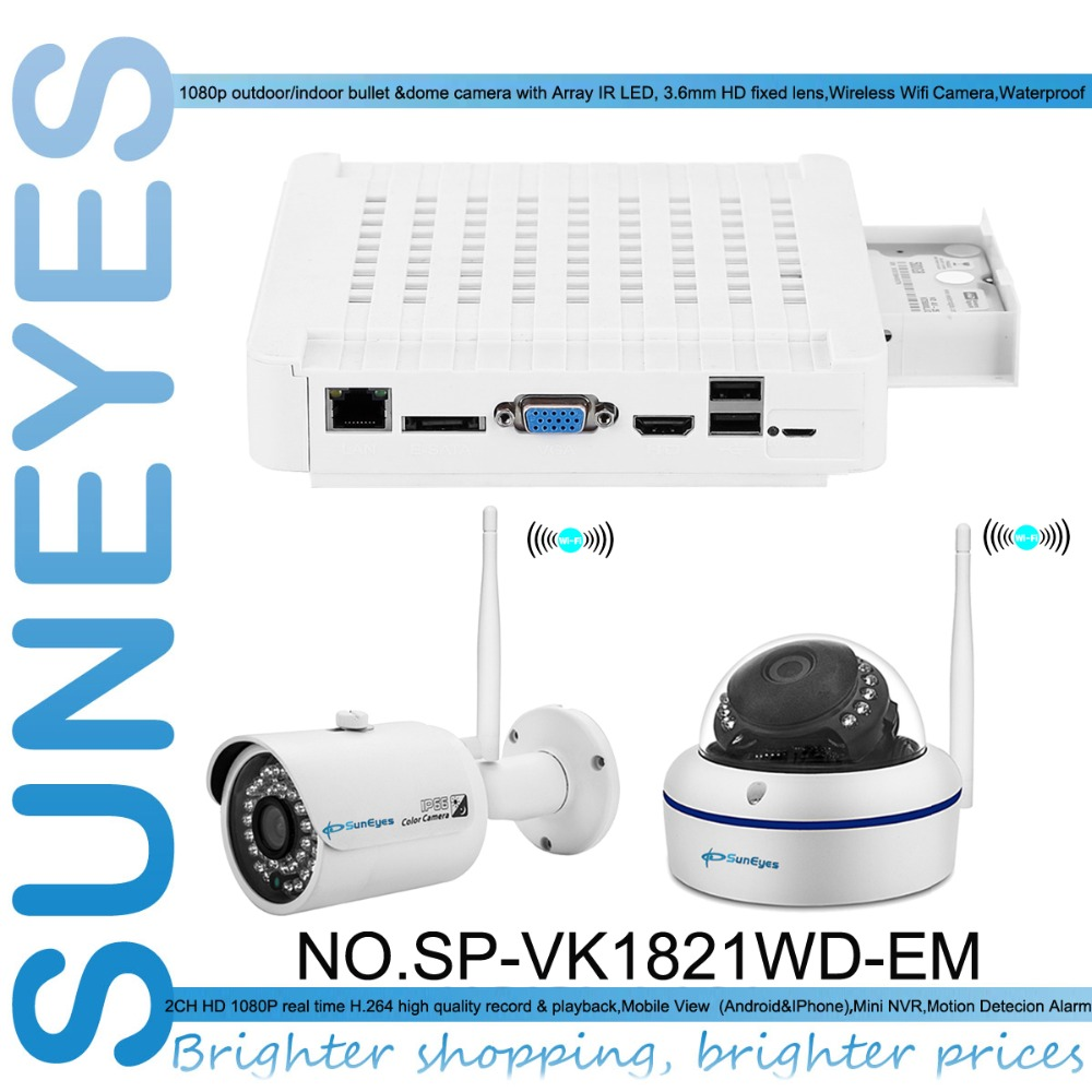 SunEyes SP VK1821WD EM 1080P Full HD 2CH IP CCTV Camera NVR Kit with 1pcs font