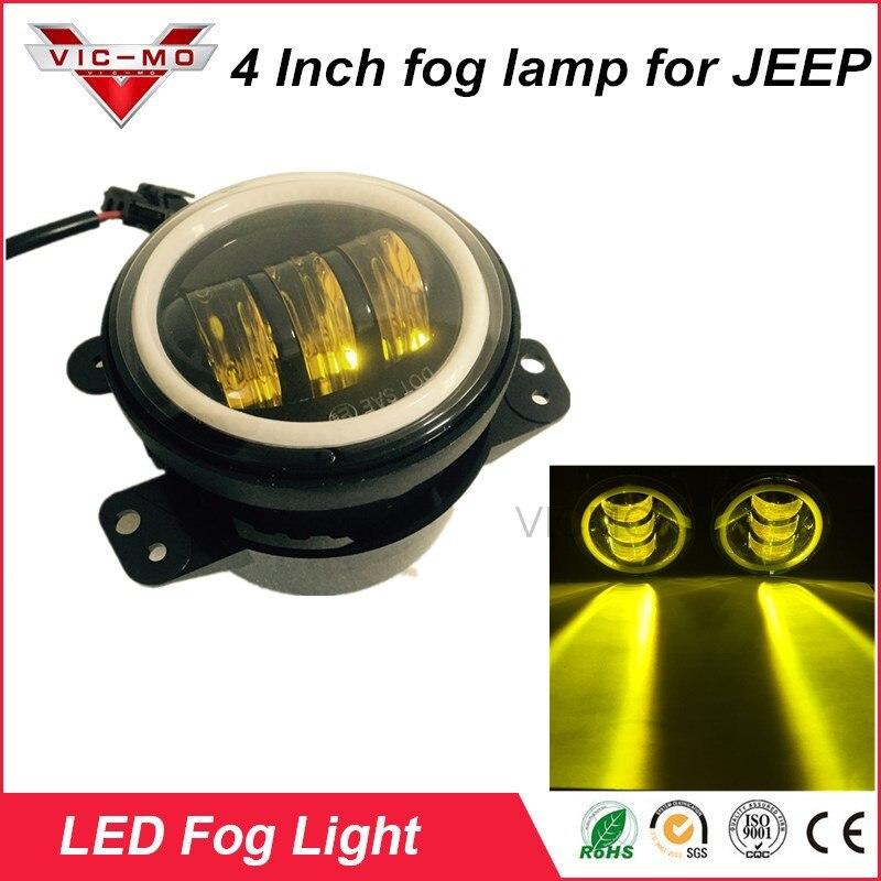 30W 3000K 2PCS 4Inch Round Led Fog Lights  White Halo Ring DRL Off Road Fog Lamps For Jeep Wrangler JK TJ LJ Grand Cherokee