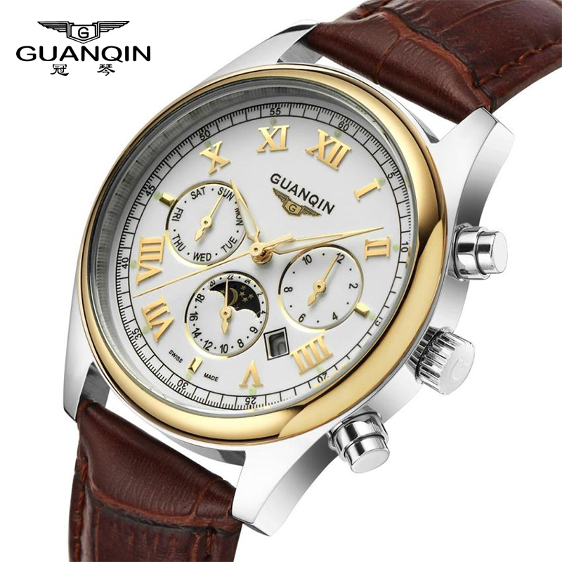 GUANQIN Retro Design Leather Band Watches Men Top Brand Relogio Masculino 2018 NEW Mens Sports Clock Analog Quartz Wrist Watches top brand 2017 new mens sports clock watch retro design leather band analog alloy quartz wrist watches relogio masculino