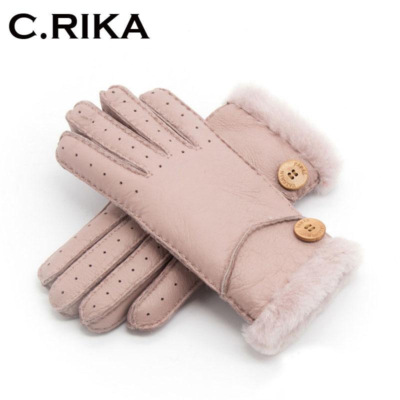 2018 Winter ski Gloves Real Sheepskin  leather woo