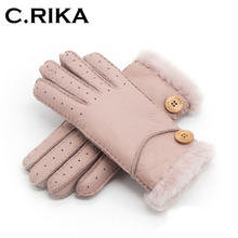 2018 Winter ski Gloves Real Sheepskin leather wool Fur Glove