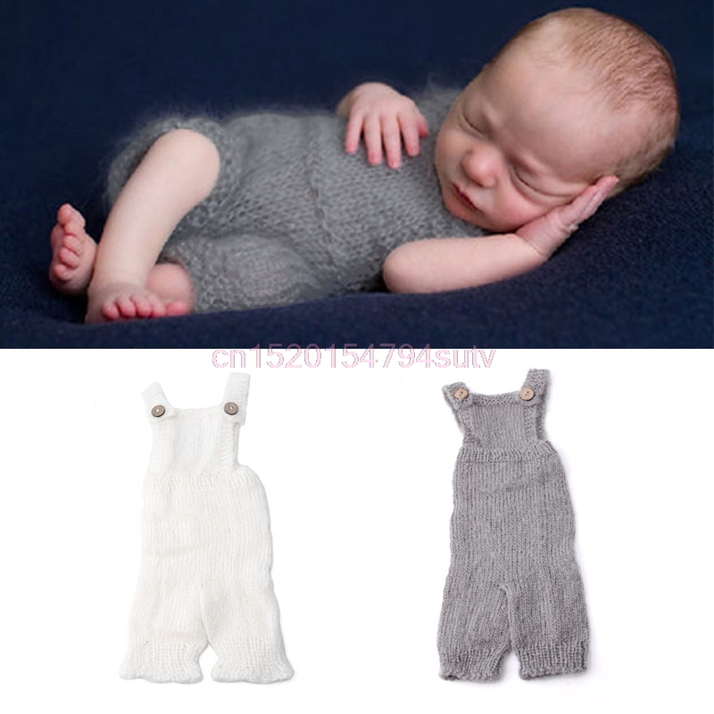 Baby Overalls Rompers Photography Props Costume Infant Knitted Mohair #H055#