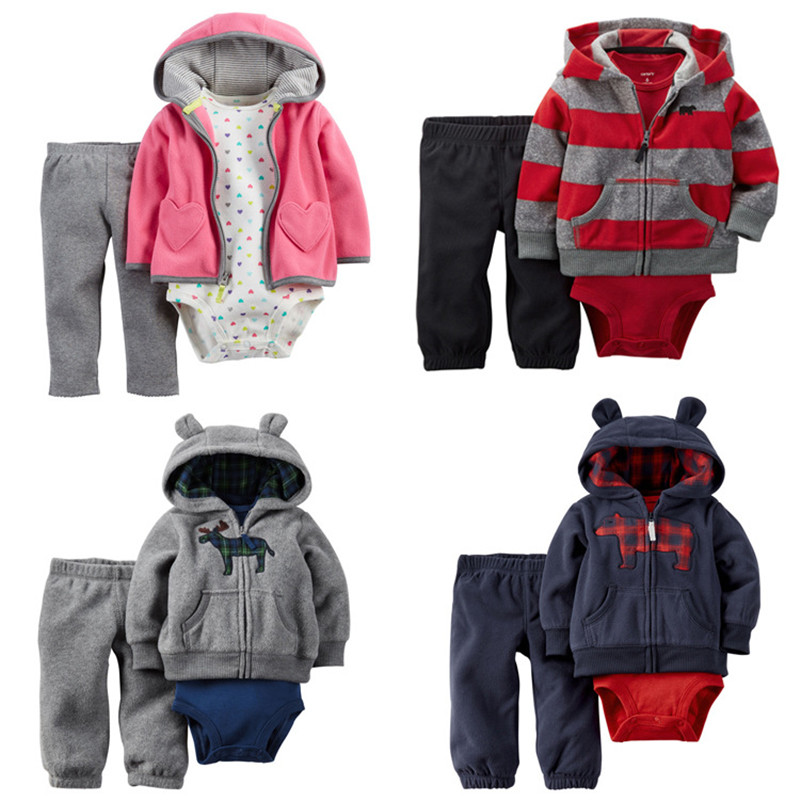 Free shipping baby bebes boys clothes set jacket + romper + pants boy girl clothing infant Autumn Spring children suits  free shipping new 2017 spring autumn baby clothing infant set gift baby jumpsuits newborn romper 4pcs set 2pcs romper hat bib