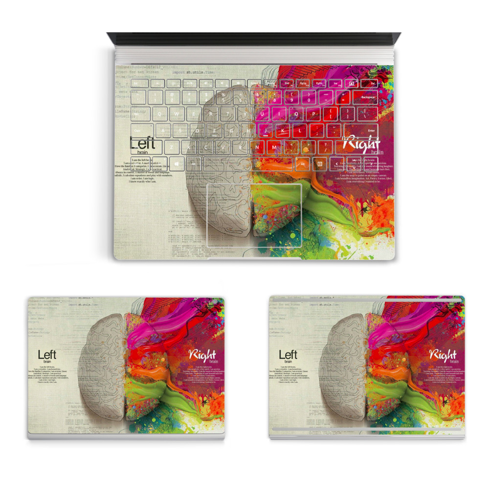 2017 Hot Laptop Left&Right Brain Sticker For Micro Surface Book Top Bottom Vinyl Decal+Keyboard Sticker Skin Logo Cut Out