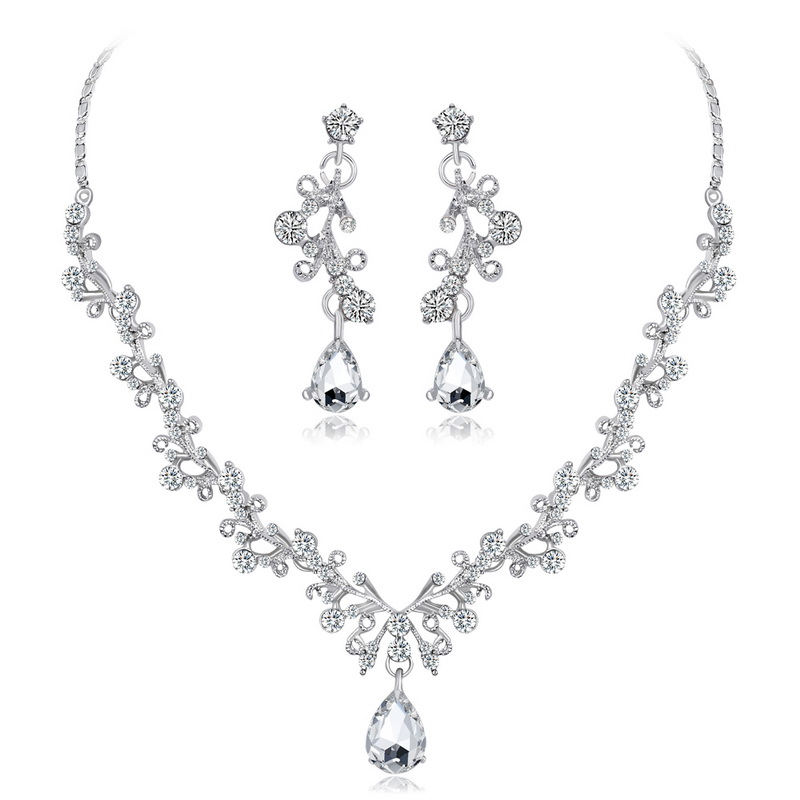 Wedding Jewelry Sets Crystal Tree Flower Bridal Jewelry Set For