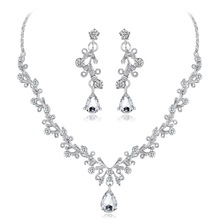 Wedding Jewelry Sets Crystal Tree Flower Bridal Jewelry Set For Women Silver Choker Necklace Earring Plant Wedding Decoration gorgeous crystal bridal jewelry sets wedding necklace earring set for brides party accessories rhinestones decoration gift women