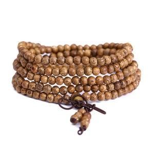 Image 2 - 108 Wooden Beaded Bracelet Men Wenge Prayer Beads Tibetan Buddhist Mala Rosary Bracelets For Women  Wood pulsera hombre Jewelry