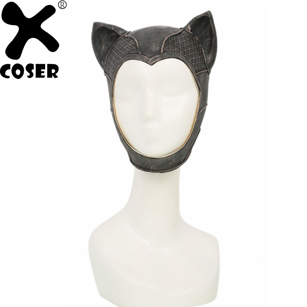 XCOSER Catwoman Mask Game Batman Arkham Knight Cosplay Props Latex Cute Headgear Halloween Party Cosplay Costume For Women