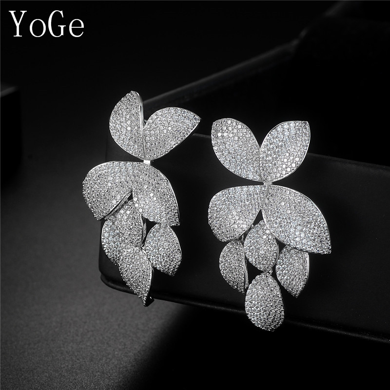 E2299C Luxury micro pave setting AAA CZ leaves shaped drop earrings dress patry accessaries