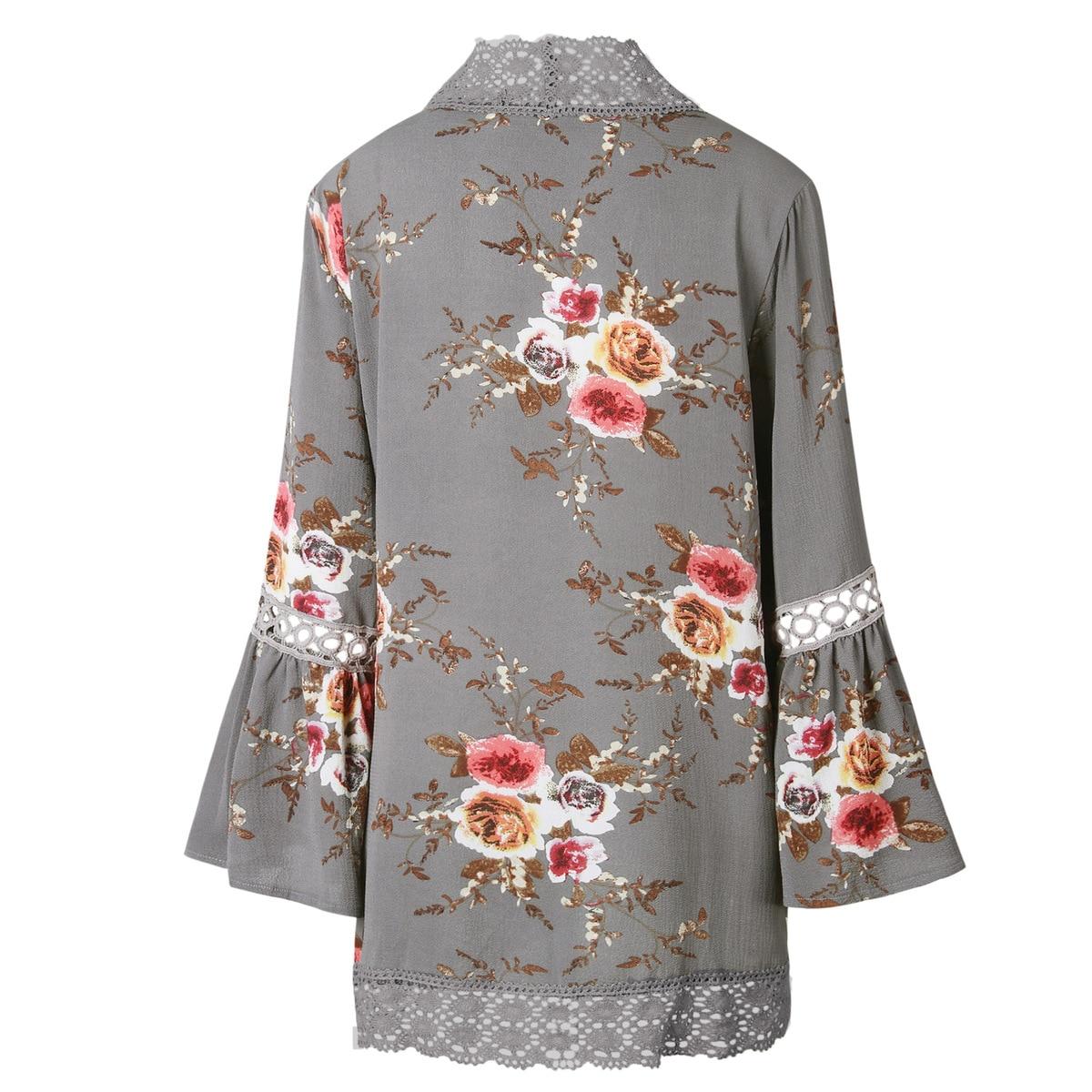 HTB1.d FEbuWBuNjSszgq6z8jVXar Women Plus Size Loose Casual Basic Jackets Female 2018 Autumn Long Flare Sleeve Floral Print Outwear Coat Open Stitch Clothing