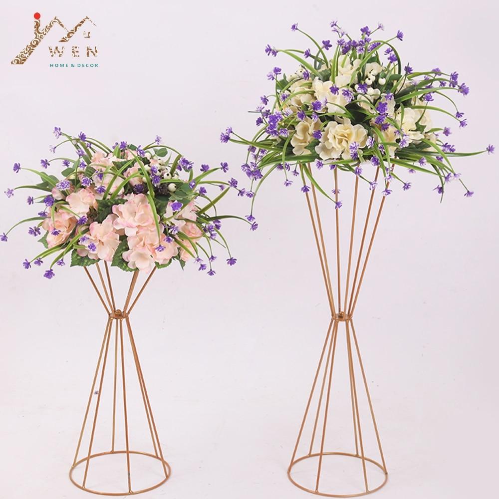 70CM/50CM Flower Vases Gold/ White Flower Stands Metal Road Lead Wedding Centerpiece Flowers Rack For Event Party Decoration Pakistan