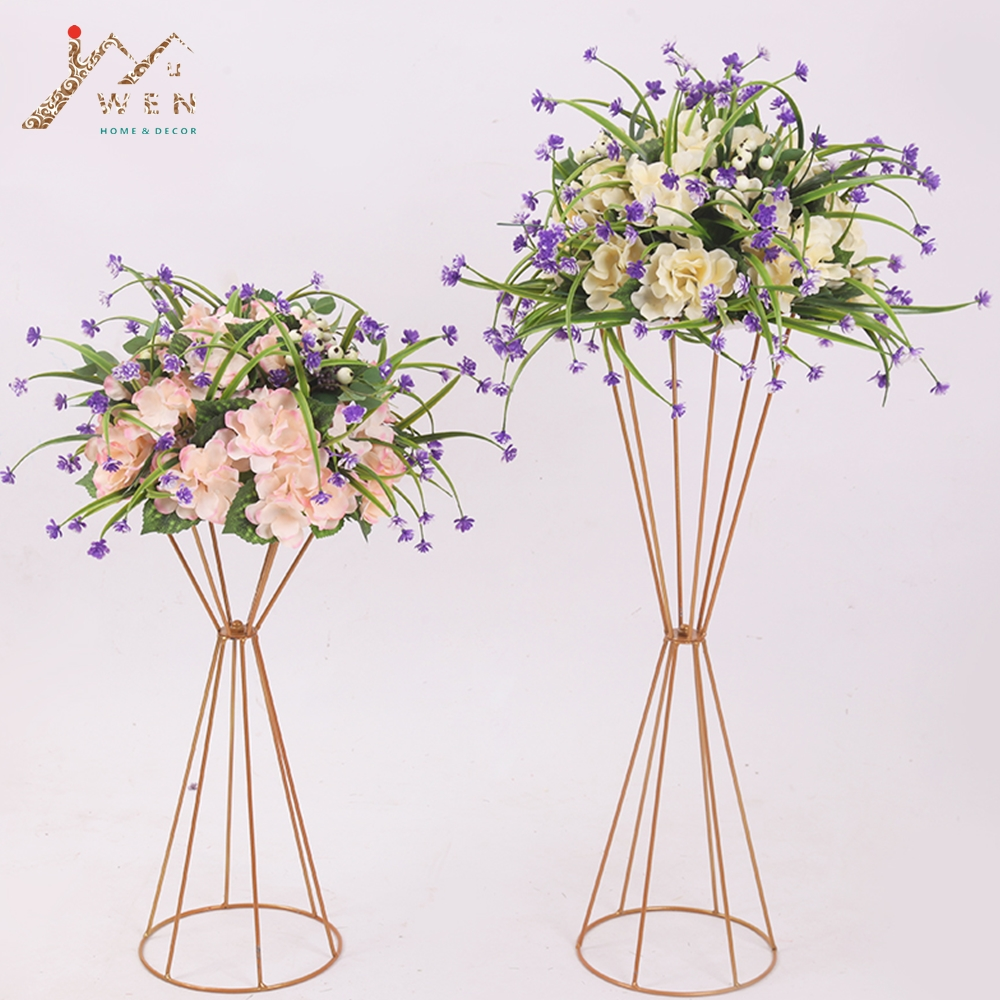 70CM/50CM Flower Vases Gold/ White Flower Stands Metal Road Lead Wedding Centerpiece Flowers Rack For Event Party Decoration