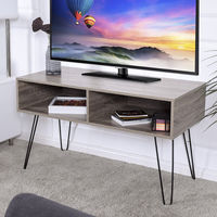 Giantex Modern TV Stand Wood Media Console Table Entertainment With Metal Hairpin Legs TVs Up To