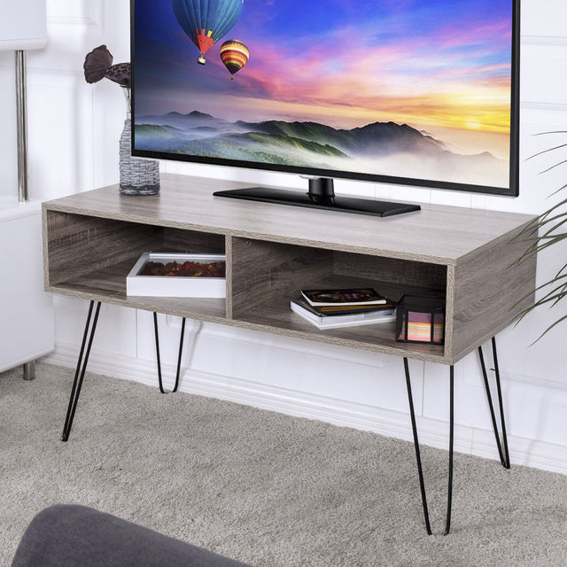 Giantex Modern Tv Stand Wood Media Console Table Entertainment With