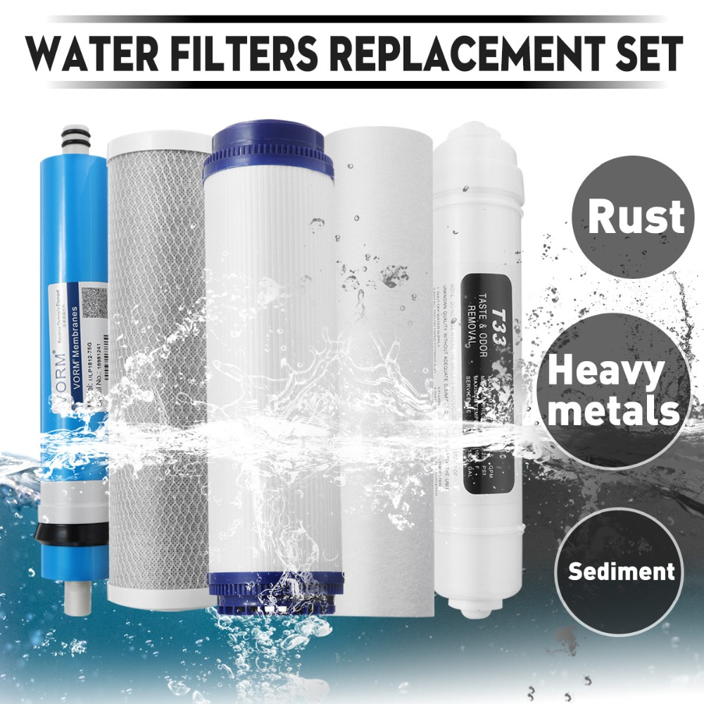 50/75/100 GPD RO Membrane 5 Stages Water Purifier Filter Cartridges Reverse Osmosis System Replacement Water Filters Set