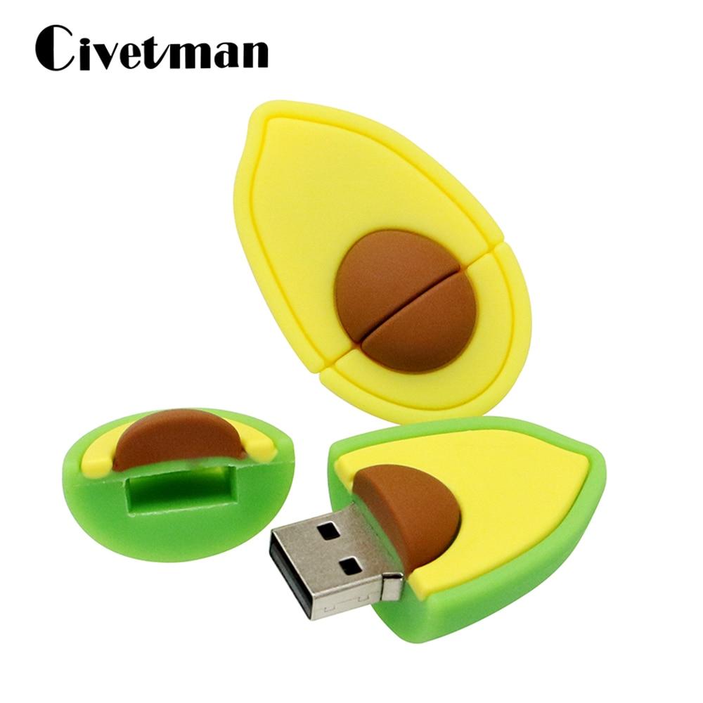 Pen Drive Cute Cartoon Avocado Pear Fruit USB Flash Drive 4GB 8GB 16GB 32GB 64GB USB2.0 Flash Memory Stick Pendrive U Disk Gifts