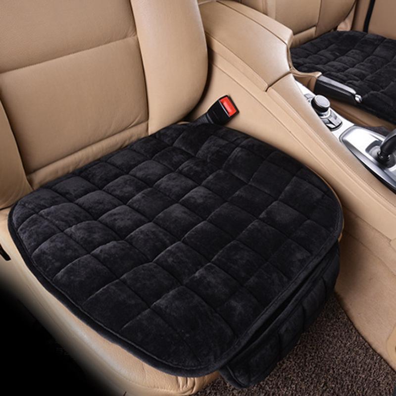 Cubierta Universal del asiento de coche del invierno felpa antideslizante estera del cojín silla de oficina transpirable suave cubierta de asiento Auto Interior suministros
