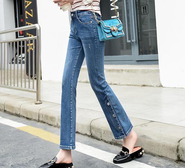 Cintura Pantalones Casual Alta Moda Tamaño Botón Mujeres Jeans Flare Nueva Capris Más Otoño Primavera Mezcla Tyn0810 Algodón 1nqg1wUB